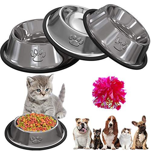 STARPIA Katzennapf Futternapf Katze, 3 Stück Edelstahl rutschfest Katzen Napf, Katzennapf Set Fressnapf Katze Futterschüssel, Katze Wasser Fütterung Schüssel für Katze Kleine Hunde Tiere