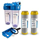 PureOne AKS2 Antikalk-Set. Doppel Filteranlage 10 Zoll. Entkalkung bzw. Wasserenthärtung. Ionentauscher Resin. Filtergehäuse plus AK Resin Filterkartusche. Für Zisterne, Brunnenwasser