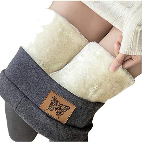 Térmico Leggings de Cintura Alta para Mujer,Pantalones de Cachemira de Lana de Terciopelo Grueso Ajustado Pantalones Invierno Deportivos Elásticos Cálido Leggings Push Up Mujer Mallas (H, M)