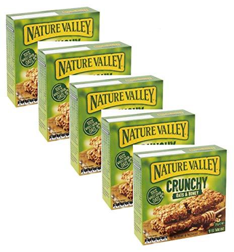 Nature Valley Barres de céréales croquantes 100% flocons d'avoine et miel sans colorants sans conservateurs Ne Sans lactose Convient aux végétariens - 5 x 210 grammes (5 x 10 barres)