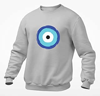 Hand Painted Porcelain Tea with Anti Evil Eye Designs, Kitchen Decor, Personalized, Silver dots, Amulet, Housewarming Gift Sweatshirt