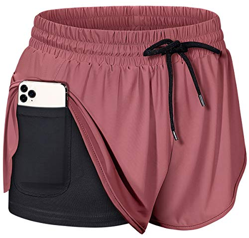 BLEVONH Workout Shorts for Women,Ladies Double Layers Sports Running Short with Pocket Girls Gym Fitness Short Pants Wine M