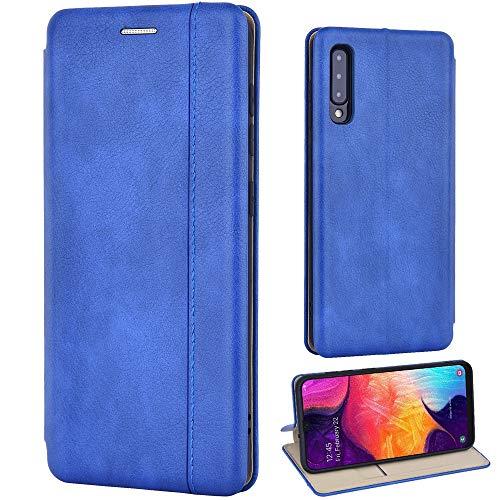Leaum Handyhülle für Samsung A50 Leder Hülle, Samsung Galaxy A50 Klapphülle, mit [Kartenfächer] [Standfunktion] Stoßfeste Tasche Schutzhüll - Blau