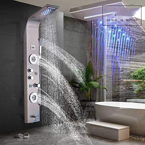 Wieoc Duschsystem Luxus Wasserfall Regen Duschpaneel 3 Griff Spa Massage Jet Dusche Wasserhahn Spalte Digitalanzeige Led Licht Dusche Set Wandhalterung Nickel gebürstet