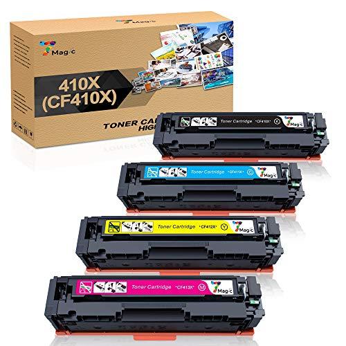 7Magic Reemplazo de cartucho de tóner compatible para HP CF410X CF410A CF411X CF412X CF413X para HP Color Laserjet Pro MFP M477FDW MFP M477FDN M377DW M477FNW M452DN M452DW M452NW (paquete de 4)