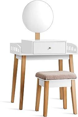 Costway Coiffeuse Femme Table de Maquillage Moderne avec Miroir et Tabouret en MDF pour Chambre 70 x 43 x 125,5 CM Blanche