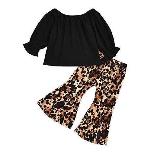 BUKINIE 2PCS Ensemble de vêtements Little Kids T-Shirt de Culture bébé Fille à Manches Longues + Pantalon évasé à imprimé léopard(Noir,4-5 Ans)