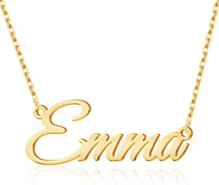 MeMoShe Name Necklace Personalized, 18K Gold Plated Nameplate Pendant Necklace Dainty Jewelry Gift for Women