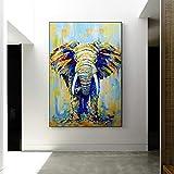 100% Hand-Painted Oil Paintings Modern Minimalist Porch Decorative Painting Pure Hand-Painted Oil Painting Home Aisle Paintings Elephant Murals Living Room Vertical Version European Style,80×120