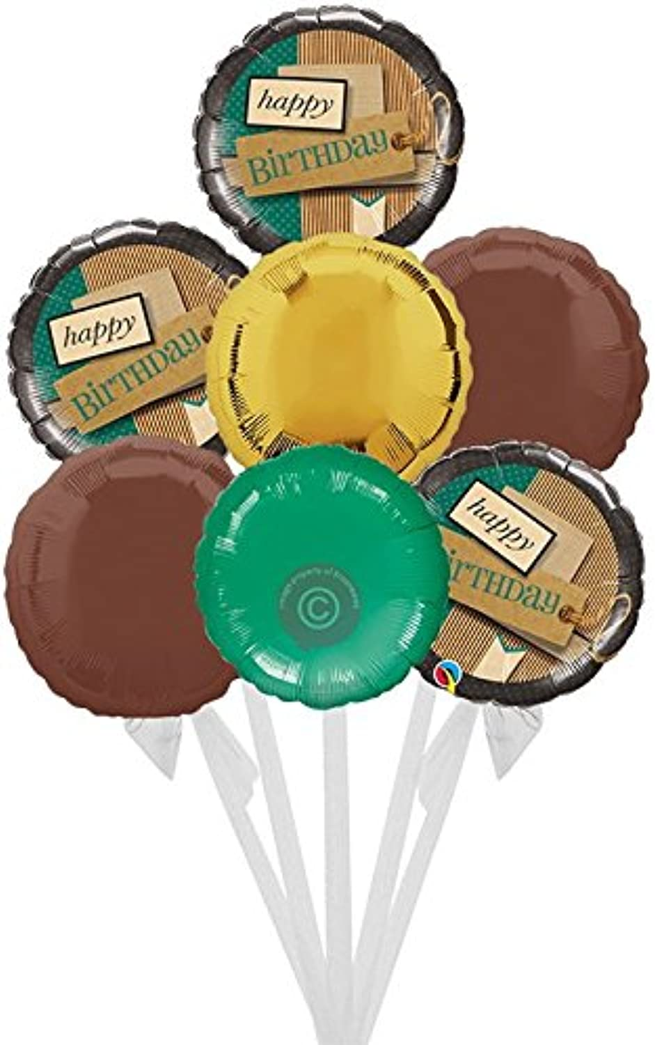 Happy Birthday Paper Patterns  Inflated Birthday Helium Balloon Delivered in a Box  Bigger Bouquet  7 Balloons  Bloonaway