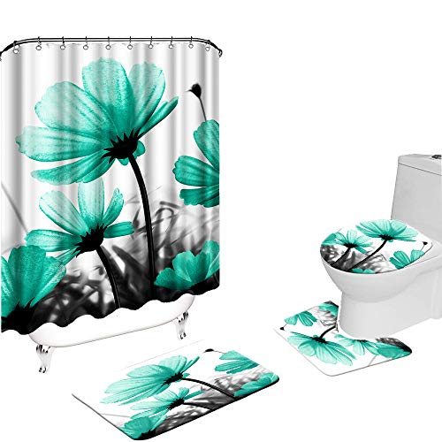 VividHome 4 Pcs Teal Shower Curtain Sets with Non-Slip Rug Toilet Lid Cover and Bath Mat Green Flower Landscape Shower Curtain with 12 Hooks Waterproof Botanical Bathroom Accessories Set