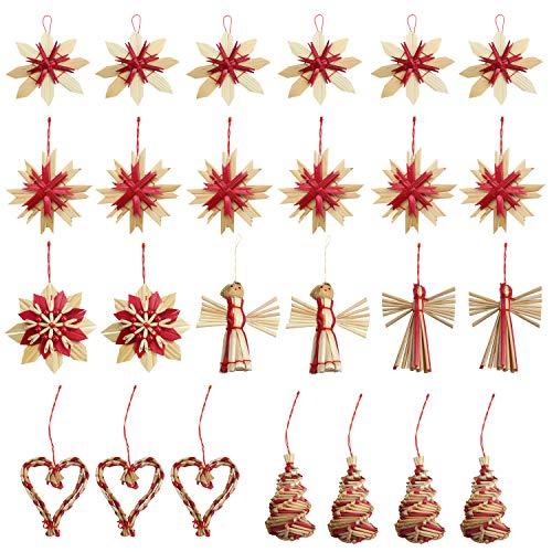BELLE VOUS Weihnachtsbaumschmuck (25 STK) - Strohsterne Christbaumschmuck aus Stroh Natur Verschiedene Motive mit Schnur - Weihnachtsschmuck Weihnachtsdeko Weihnachtssterne zum Aufhängen Baumschmuck