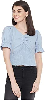 Madame Solid Polyester Sweetheart Neck Womens Top(S21MAD1S18574B-P)