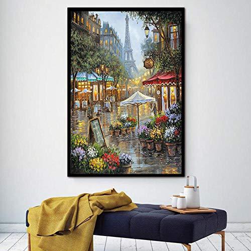wZUN Paisaje Escena de la Calle Escena Lienzo Pintura al óleo Decoración Abstracta del hogar Imagen de Pared Imagen de decoración de Sala de Estar 60x80cm Sin Marco