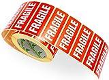Etiquetas Fragil Blancas en 1,000pcs 90x35mm Rojo/Roll Con Del Texto la Etiqueta - FRAGILE