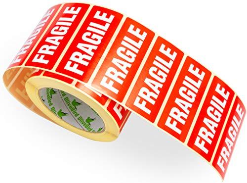 1000 x Fragile stickers wit op rood 90 x 35 mm 1.000 stuks. Rol zonwering inkijkbescherming met tekst op label Fragile