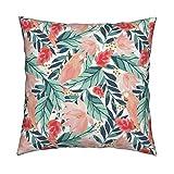 unknow Blush Pink Papageien-Dekokissen, Blumendesign, Pastellfarben, 45,7 x 45,7 cm