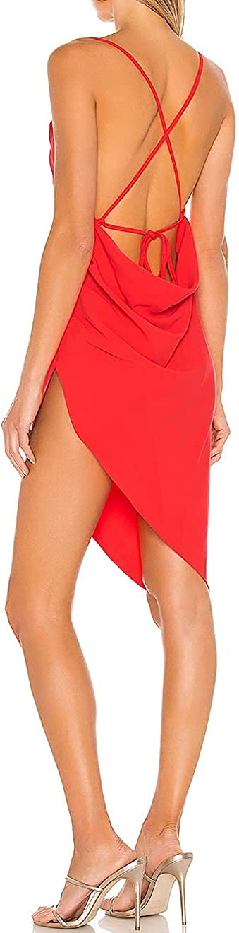Rcmolly Women Sexy Bodycon Party Dresses Backless Spaghetti Straps Clubwear Asymmetrical Ruched Side Mini Dress RC16