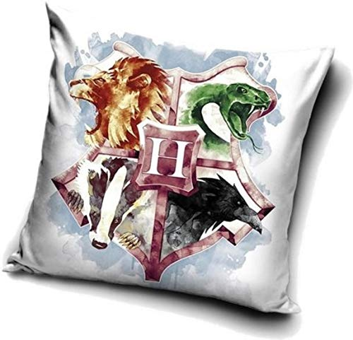 Harry Potter Cushion Cover 40 x 40 cm, Polyester, White coat of arms, 40 x 40 cm