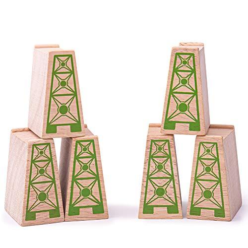 Bigjigs Rail Cubes en Bois de surélévation (Lot de 6)