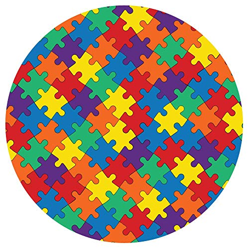 Autism Awareness Round Rainbow Puzzle Car Magnet Bumper Decal, 5 1/2 Inch
