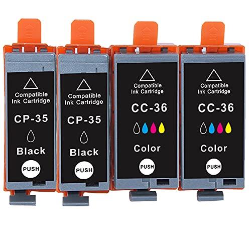 B-T Compatible Cartuchos de Tinta Reemplazo para Canon PGI 35 CLI 36 PGI-35BK CLI36 para Canon Pixma IP100B IP100 IP110 Impresoras (2 Negro, 2 Color) 4 Pack