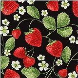 Schwarzer Stoff mit Erdbeeren und kleinen Blüten von