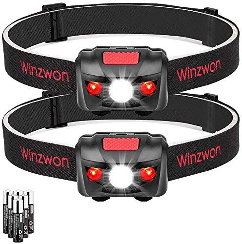 Winzwon LED Stirnlampe LED Kopflampe LED Stirnlampen LED Kopflampen Kopfleuchten LED Headlight 4 Helligkeiten zu wahlen inklusive 6 AAA Batterie