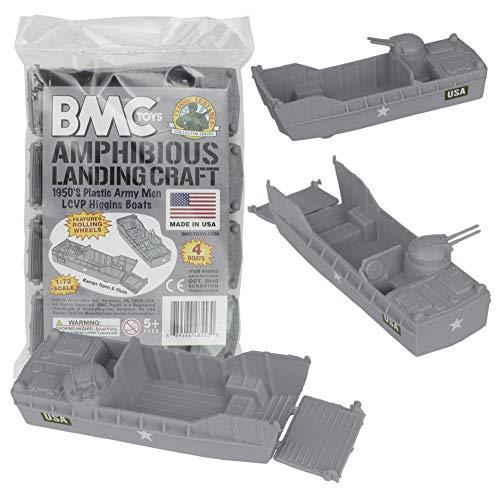 BMC Classic Marx Landing Craft - 4pc Gray Plastic Army Men Boat Vehicles