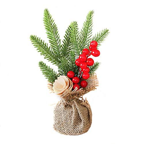 Sapin de Noël Miniature Noël Décor Interieux,Sapin de Noel Mini Arbre de Noël Artificiel Miniature Decoration Table Ornements Christmas (#B, 25CM)
