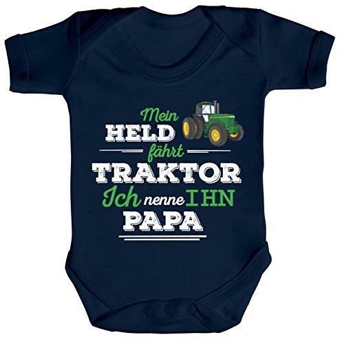 ShirtStreet Vatertag Landwirt Trecker Strampler Bio Baumwoll Baby Body kurzarm Papa - Mein Held fährt Traktor, Größe: 0-3 Monate,Nautical Navy