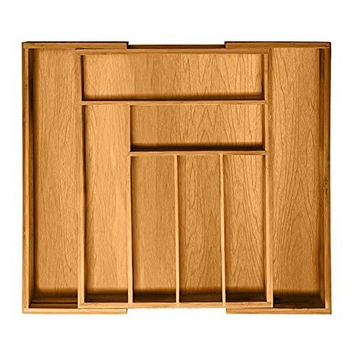 Createjia Ausziehbarer Bambus Besteckkasten,Küchenbesteck Organizer Fach für ausziehbare Geschirrschubladen für Küche, Abstellraum 35,7 x 25,7 x 5 cm