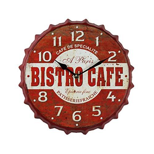 VOSAREA Reloj de Pared Colgante Reloj de Tapa de Cerveza Vintage Reloj de Pared número de Hierro Reloj silencioso Dormitorio sin batería incluida 12 Pulgadas Rojo