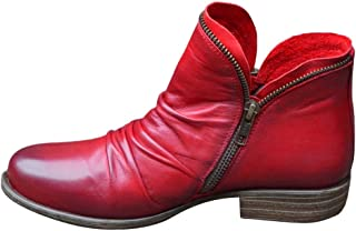 DAIFINEY Dames winterlaarzen retro korte schacht laarzen enkellaars halve laarzen laarzen bootie instaplaarzen sneeuwlaarz...