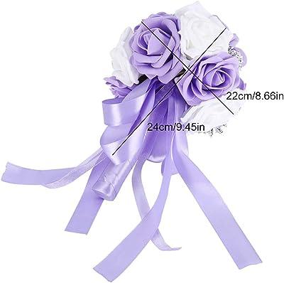 TOPINCN Bouquet de fleurs artificielles pour décoration de mariage, fête de jardin, accessoires (violet)