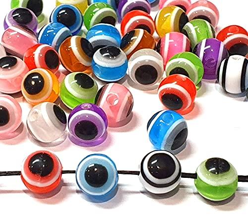 100 unidades Nazar Boncuk Boncugu redondas de 8 mm, ojo de boese, colores mixtos, juego de perlas de ojo azul, cuentas de ojo turco, amuleto de la suerte para regalos de invitados