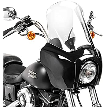 Lampenmaske MG5 f/ür Harley Dyna Street Bob 06-17 Lampen schwarz matt-klar