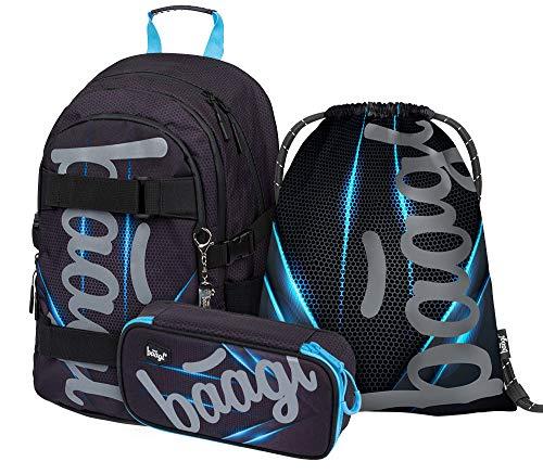 Schulrucksack Set Jungen 3 Teilig, Schultasche ab 3. Klasse, Grundschule Ranzen für Jungs mit Brustgurt, Ergonomischer Schulranzen (Skate Bluelight)