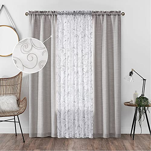 AUFENLLY 2 Embroidery Floral Semi Sheer Curtains and 2 Burlap Privacy Curtains for Window Curtain Panels Set of 4 Curtains for Living Room Curtains 84 Inches Long (Light Grey, W27.5xL84 Inch Each)