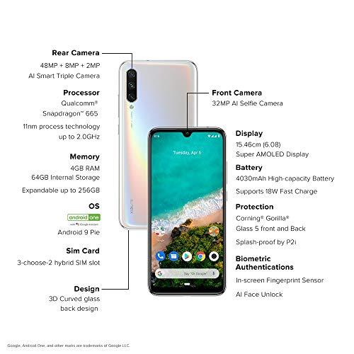(Renewed) Xiaomi Mi A3 (More Than White, 4GB RAM, AMOLED Display, 64GB Storage, 4030mAH Battery)
