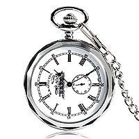 JLYSHOP スチームパンク 懐中時計 不規則な機関車 鉄道機械式手巻き懐中時計