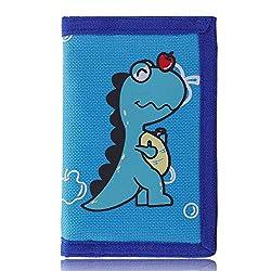 1. AI-DEE RFID Blocking Trifold Canvas Cartoon Dinosaur Wallet
