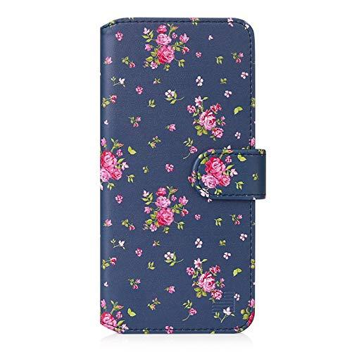 32nd Floreale Series 2.0 - Custodia a Portafoglio in Pelle PU per OnePlus 8, Case Realizzato in Pelle Sintetica con Diversi Comparti e Chiusura Magnetica - Vintage Rosa Blu