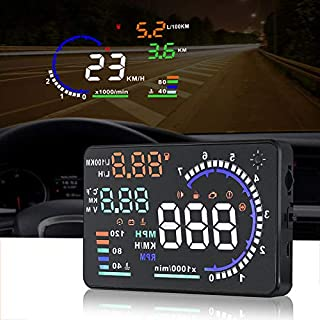 A8 HUD Head up Display Speedometer for Car with OBDII EUOBD,5.5 inch Universal Digital Speedometer,Over Speed Alarm, KMH/M...