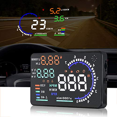 A8 HUD Head up Display Speedometer for Car with OBDII EUOBD,5.5 inch Universal Digital Speedometer,Over Speed Alarm, KMH/MPH, Windshield Projector with Film