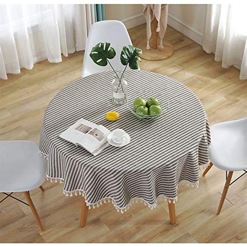 meioro Manteles Redondo Mantel Redonda Mantel para Mesa de Lino Striped Tassel Tablecloth La decoración del hogar es Adecuada para Interiores y Exteriores (Rayas Marrones / Blancas,Diámetro 150cm)