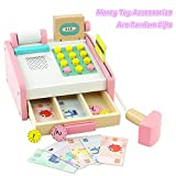 TONZE Kids Toy Till Cash Register Supermarket Shop Till Pretend Play Wooden Toys