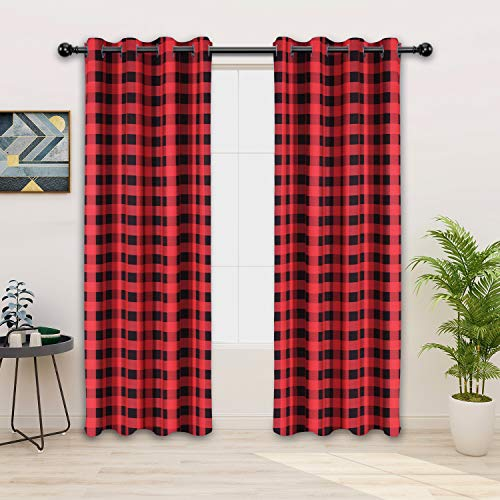 FLOWEROOM Buffalo Plaid/Check Curtains, Red-Black, 52 x 84 Inch Long – Sun Light Blocking, Thermal Blackout Curtains for Bedroom and Living Room,...