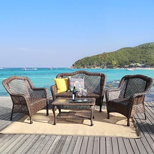 HAPLIFE Patio Conversation Set 4 PCs Rattan Wicker Outdoor Furniture Set with Quick Dry Foam, Brown