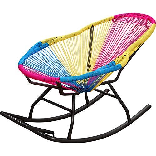 XLSQW Komfortable Entspannung Schaukelstuhl Pe Rattan Recliner Stuhl, Terrasse Möbel im Freienstühle Lounge-Sessel Stahlrahmen, für Indoor Outdoor Outdoor